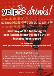 Yelp Drinks flyer with details and participating venues