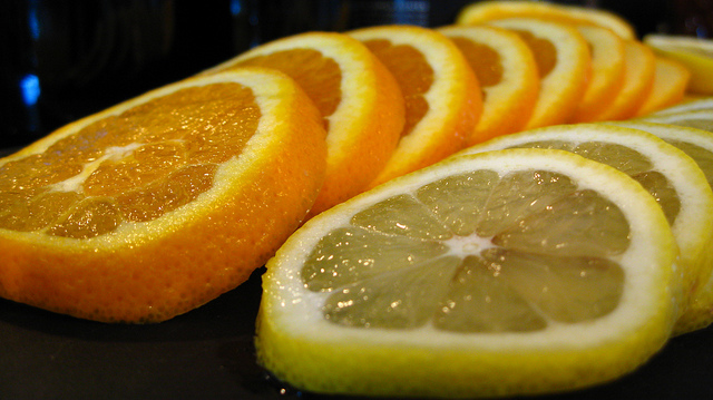 Sliced oranges and lemons for sangria